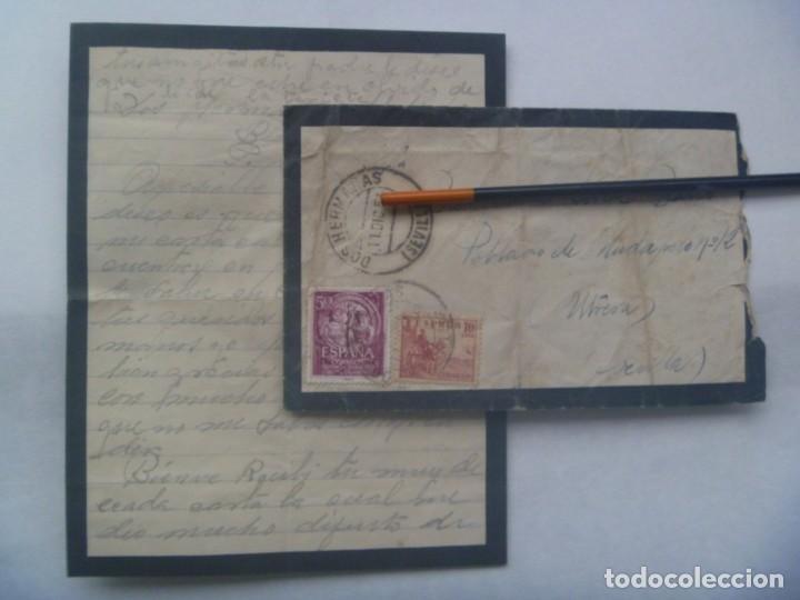 SOBRE DE LUTO CIRCULADO DE DOS HERMANAS A POBLADO MUDAPELO ( UTRERA - SEVILLA ), 1953 (Sellos - Historia Postal - Sello Español - Sobres Circulados)