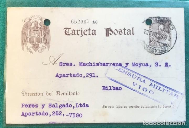 CENSURA MILITAR VIGO. GUERRA CIVIL (Sellos - Historia Postal - Sello Español - Sobres Circulados)