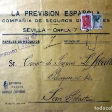 Sellos: 1938.- G SOBRE CERTIFICADO Y 2 SELLOS EST. ESP. DE SEVILLA A S.SEBASTIAN CENS. M. Y MARCA PATRIOTICA. Lote 202614823
