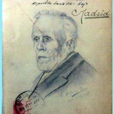 Sellos: 1938-CURIOSO SOBRE CON DIBUJO DE PABLO IGLESIAS FDO.1938 DEL BON.1º DE VALENCIA A MADRID.REV,CENSURA. Lote 202615217