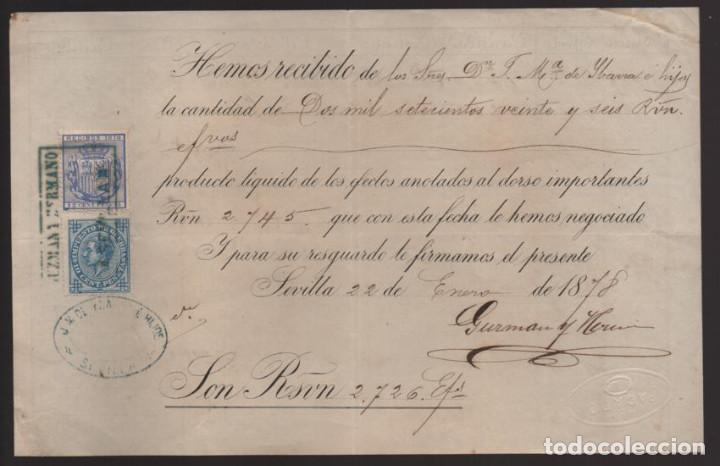 SEVILLA,- RECIBIDO DE SRES. F. Mª DE IBARRA E HIJOS- IMPUESTO DE GUERRA 10 CTS- SELLO RECIBO- 1879. (Sellos - Historia Postal - Sello Español - Sobres Circulados)