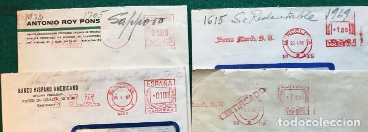 4 FRANQUEOS MECÁNICOS (Sellos - Historia Postal - Sello Español - Sobres Circulados)