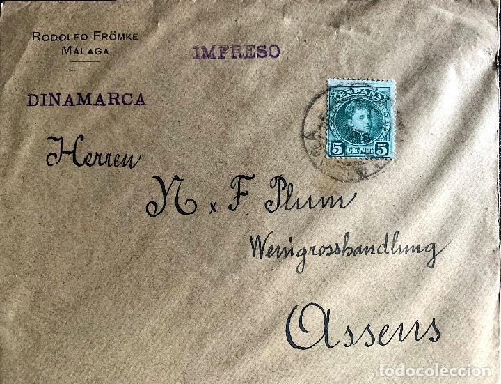 1908/1909. DOS CARTAS CIRCULADAS A DINAMARCA. ED.242. (Sellos - Historia Postal - Sello Español - Sobres Circulados)