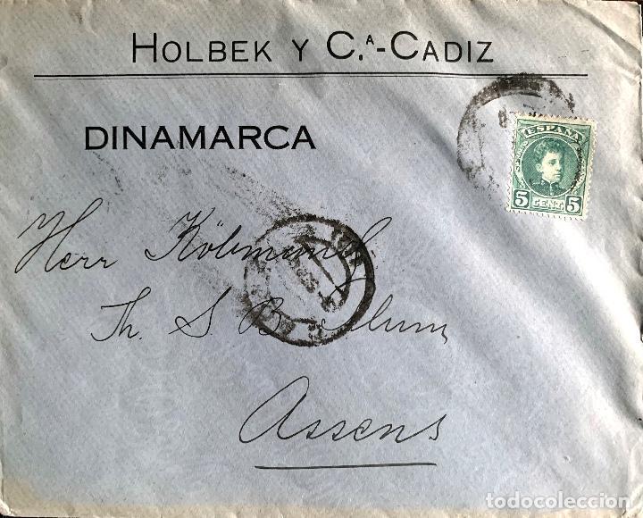 Sellos: 1908/1909. DOS CARTAS CIRCULADAS A DINAMARCA. ED.242. - Foto 3 - 204526371