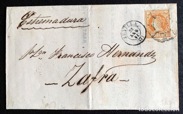 1861. SEVILLA-ZAFRA MISMO DIA. ENVUELTA COMPLETA. EDIFIL 52. (Sellos - Historia Postal - Sello Español - Sobres Circulados)