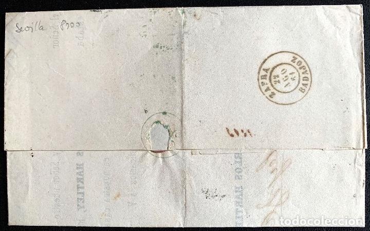 Sellos: 1861. SEVILLA-ZAFRA MISMO DIA. ENVUELTA COMPLETA. EDIFIL 52. - Foto 2 - 204528357
