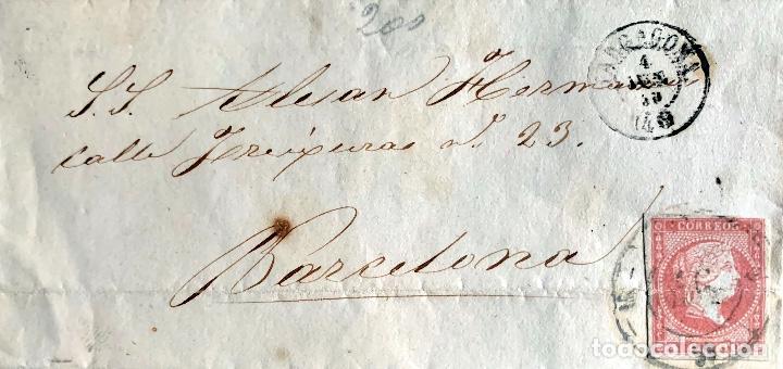 1859. TARRAGONA-BCN. ENVUELTA. EDIFIL 48A. (Sellos - Historia Postal - Sello Español - Sobres Circulados)