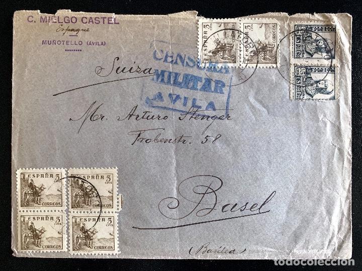 1937. VILLATORO (AVILA)-BASILEA. CENSURA MILITAR AVILA. (Sellos - Historia Postal - Sello Español - Sobres Circulados)