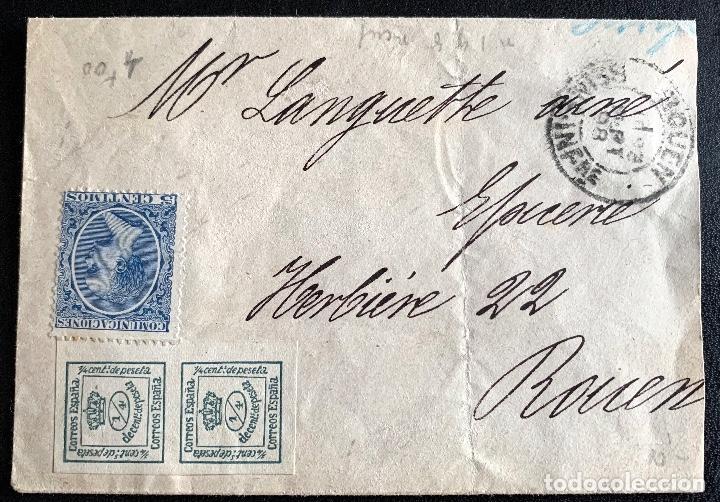 1898.ZARAGOZA-ROUEN. SOBRE INCOMPLETO. EDIFIL 173 2/4. EDIFIL 215 (Sellos - Historia Postal - Sello Español - Sobres Circulados)