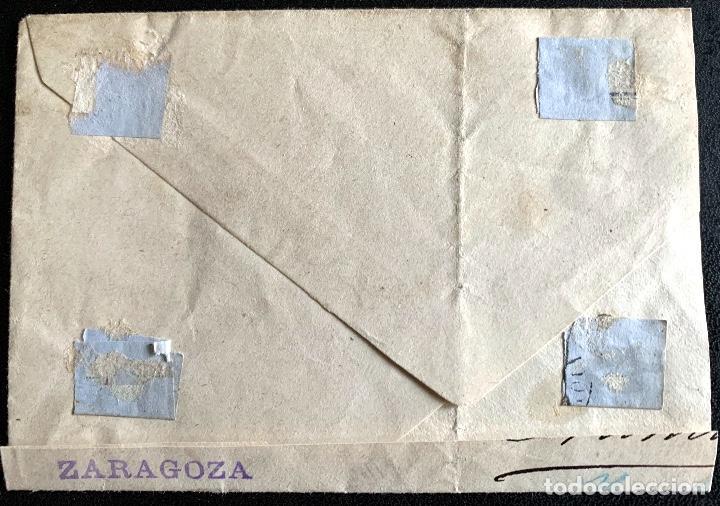 Sellos: 1898.ZARAGOZA-ROUEN. SOBRE INCOMPLETO. EDIFIL 173 2/4. EDIFIL 215 - Foto 2 - 204610372