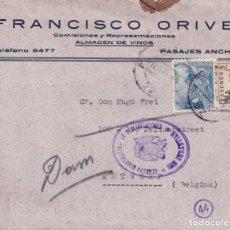 Sellos: CARTA COMERCIAL (FRANCISCO ORIVE) PASAJES ANCHO (GUIPUZCOA) CIRCULADA A BELGICA CON DOBLE CENSURA.. Lote 205245591