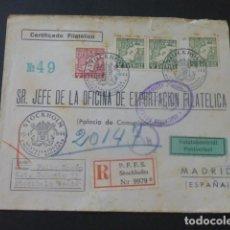 Sellos: 1944 SOBRE CIRCULADA DE SUECIA A MADRID EXPORTACION FILATELICA ASOCIACION BENEFICA CORREOS Y AEREO. Lote 205396556