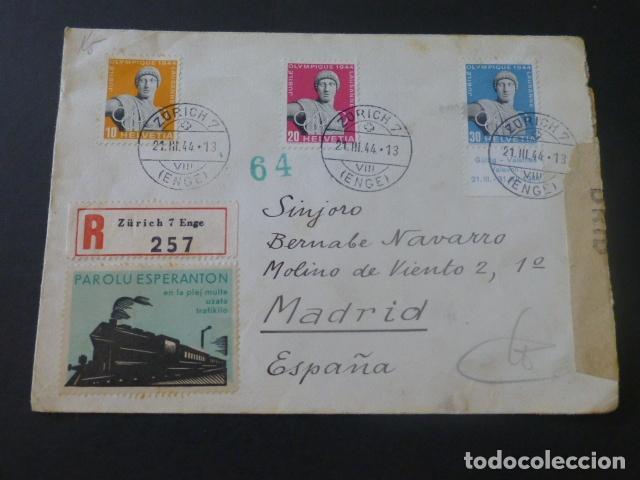 1944 SOBRE CIRCULADA DE SUIZA A MADRID SELLO ESPERANTO CENSURA NAZI Y CENSURA CERTIFICADOS MADRID (Sellos - Historia Postal - Sello Español - Sobres Circulados)
