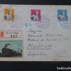 Sellos: 1944 SOBRE CIRCULADA DE SUIZA A MADRID SELLO ESPERANTO CENSURA NAZI Y CENSURA CERTIFICADOS MADRID. Lote 205396681