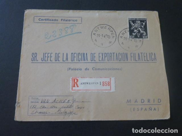 1945 SOBRE CIRCULADO DE BELGICA A MADRID EXPORTACION FILATELICA (Sellos - Historia Postal - Sello Español - Sobres Circulados)