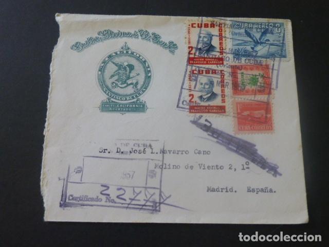1957 SOBRE CIRCULADO DE CUBA A MADRID (Sellos - Historia Postal - Sello Español - Sobres Circulados)