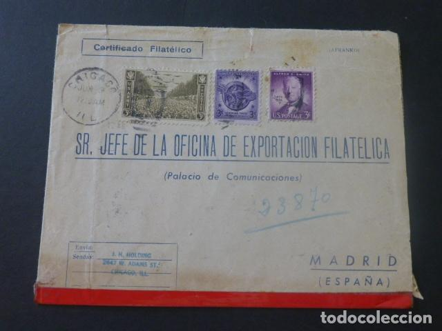 1943 SOBRE CIRCULADO DE ESTADOS UNIDOS A MADRID EXPORTACION FILATELICA (Sellos - Historia Postal - Sello Español - Sobres Circulados)