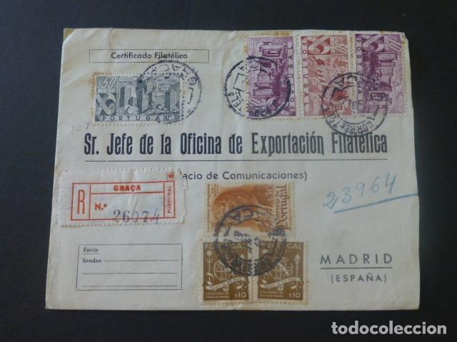 1945 SOBRE CIRCULADO DE PORTUGAL A MADRID EXPORTACION FILATELICA (Sellos - Historia Postal - Sello Español - Sobres Circulados)