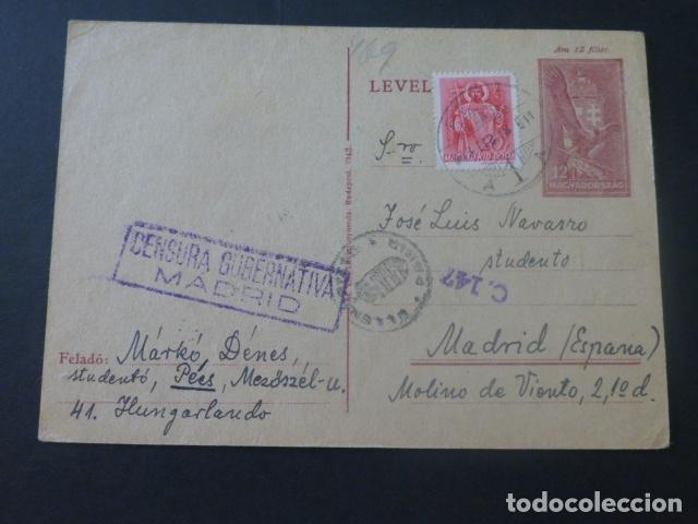 1943 POSTAL CIRCULADA DE HUNGRIA A MADRID ESPERANTO A CENSURAR EN DESTINO (Sellos - Historia Postal - Sello Español - Sobres Circulados)