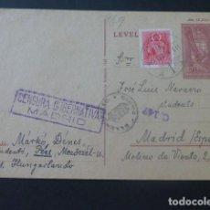 Sellos: 1943 POSTAL CIRCULADA DE HUNGRIA A MADRID ESPERANTO A CENSURAR EN DESTINO. Lote 205398302