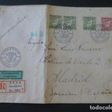 Sellos: 1944 CARTA CIRCULADA DE SUECIA A MADRID CENSURA NAZI CENSURA CERTIFICADOS MADRID. Lote 205398793