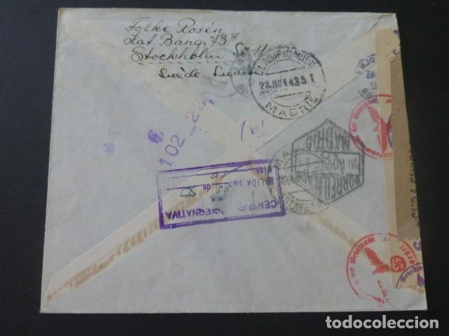 Sellos: 1943 CARTA CIRCULADA DE SUECIA A MADRID CENSURA NAZI CENSURA GUBERNATIVA - Foto 2 - 205399062