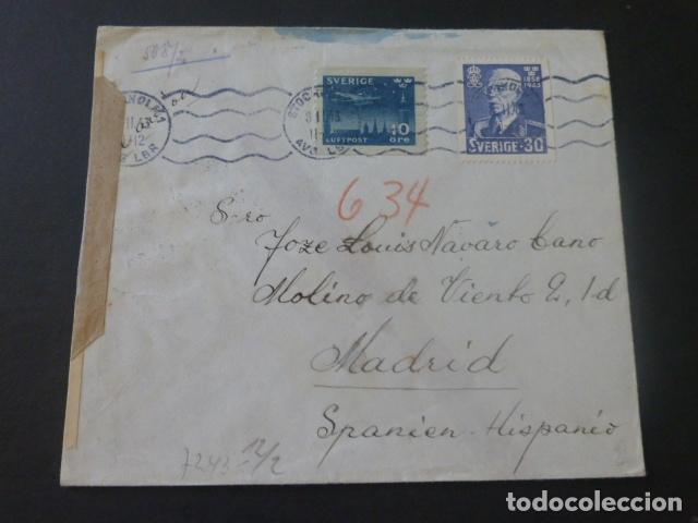 1943 CARTA CIRCULADA DE SUECIA A MADRID CENSURA NAZI CENSURA GUBERNATIVA (Sellos - Historia Postal - Sello Español - Sobres Circulados)