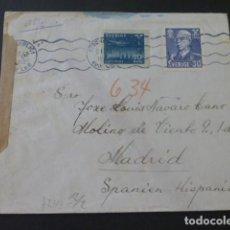 Sellos: 1943 CARTA CIRCULADA DE SUECIA A MADRID CENSURA NAZI CENSURA GUBERNATIVA. Lote 205399062