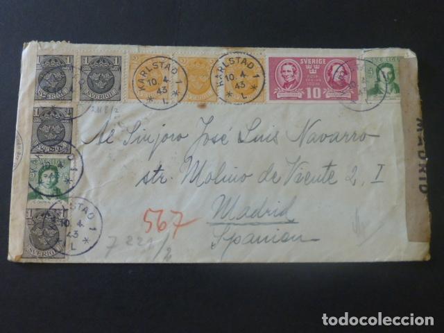 1943 CARTA CIRCULADA DE SUECIA A MADRID CENSURA NAZI MARCA CENSOR 147 CENSURA GUBERNATIVA (Sellos - Historia Postal - Sello Español - Sobres Circulados)