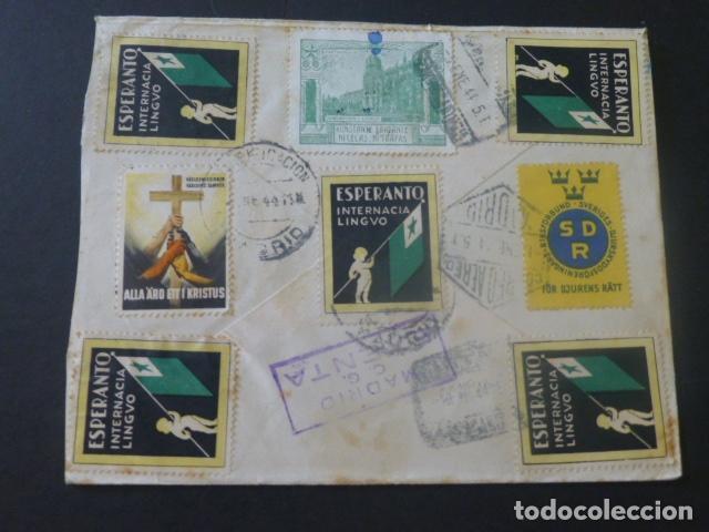 Sellos: 1944 CARTA CIRCULADA DE SUECIA A MADRID EXPORTACION FILATELICA VIÑETAS ESPERANTO - Foto 2 - 205399467