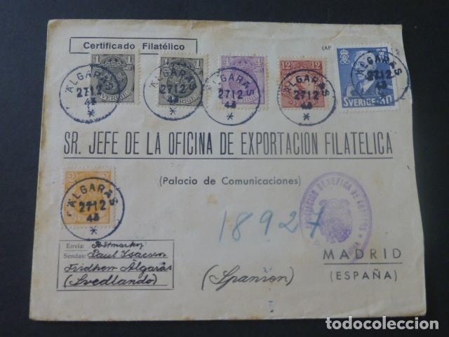 1944 CARTA CIRCULADA DE SUECIA A MADRID EXPORTACION FILATELICA VIÑETAS ESPERANTO (Sellos - Historia Postal - Sello Español - Sobres Circulados)
