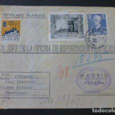 Sellos: 1943 CARTA CIRCULADA DE SUECIA A MADRID EXPORTACION FILATELICA VIÑETAS ESPERANTO CENSURA NAZI. Lote 205399575