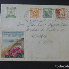 Sellos: 1949 CARTA CIRCULADA DE SUECIA A MADRID VIÑETAS ESPERANTO. Lote 205399745
