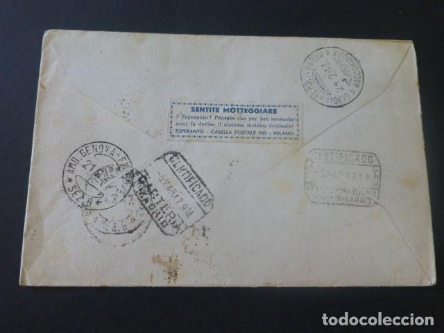 Sellos: 1947 CARTA CIRCULADA DE ITALIA A MADRID CLUB ESPERANTO - Foto 2 - 205399852