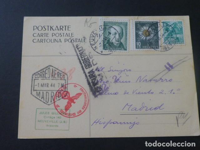 TARJETA POSTAL ESCRITA EN ESPERANTO 1944 DE SUIZA A MADRID CON CENSURA NAZI Y CENSURA GUBERNATIVA (Sellos - Historia Postal - Sello Español - Sobres Circulados)