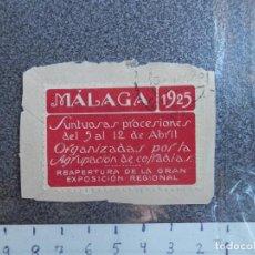 Sellos: MÁLAGA SEMANA SANTA 1925 EN ROJO BONITA Y RARA PEGATINA PUBLICITARIA PRECINTAR CARTAS. Lote 205566220