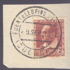 Sellos: FRAGMENTO-SELLO BLASCO IBÁÑEZ. MATASELLOS-FECHADOR. CUENCA. FUENTELESPINO DE MOYA. 09/09/1933. Lote 205589797
