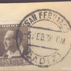 Sellos: FRAGMENTO-SELLO BLASCO IBÁÑEZ. MATASELLOS-FECHADOR. CÁDIZ. SAN FERNANDO. 05/02/1936. Lote 205589897