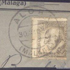 Sellos: FRAGMENTO-SELLO RAMÓN Y CAJAL. MATASELLOS-FECHADOR. MÁLAGA. ALORA. 30/03/1935. Lote 205590137