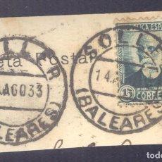 Sellos: FRAGMENTO-SELLO NICOLÁS SALMERÓN. MATASELLOS-FECHADOR. BALEARES. SÓLLER. 14/08/1933. Lote 205590388