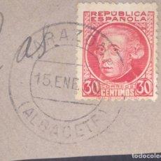 Sellos: FRAGMENTO-SELLO JOVELLANOS. MATASELLOS-FECHADOR. ALBACETE. TARAZONA. 15/01/1935. Lote 205593257