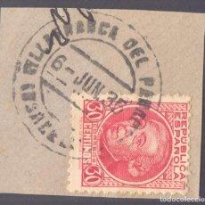 Sellos: FRAGMENTO-SELLO JOVELLANOS. MATASELLOS-FECHADOR. BARCELONA. VILLAFRANCA DEL PANADÉS. 06/06/1935. Lote 205593368