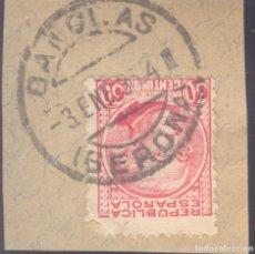 Sellos: FRAGMENTO-SELLO JOVELLANOS. MATASELLOS-FECHADOR. GERONA. BAÑOLAS. 03/01/1936. Lote 205593686