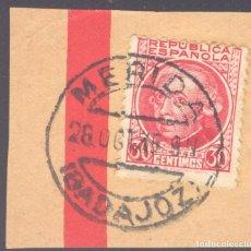 Sellos: FRAGMENTO-SELLO AZCÁRRATE. MATASELLOS-FECHADOR. BADAJOZ. MÉRIDA. 26/10/1935. Lote 205594308