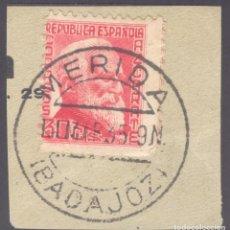 Sellos: FRAGMENTO-SELLO AZCÁRRATE. MATASELLOS-FECHADOR. BADAJOZ. MÉRIDA. 14/03/1935. Lote 205594365