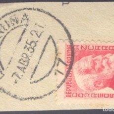 Sellos: FRAGMENTO-SELLO AZCÁRRATE. MATASELLOS-FECHADOR. LA CORUÑA. 07/04/1935. Lote 205594840