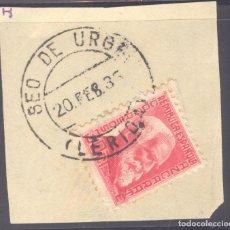 Sellos: FRAGMENTO-SELLO AZCÁRRATE. MATASELLOS-FECHADOR. LÉRIDA. SEO DE URGEL. 20/02/1935. Lote 205595216