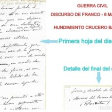 Sellos: GUERRA CIVIL - DISCURSO DE FRANCO CON MOTIVO DEL HUNDIMIENTO DEL CRUCERO BALEARES 6 MARZO 1938 - VER. Lote 205750951