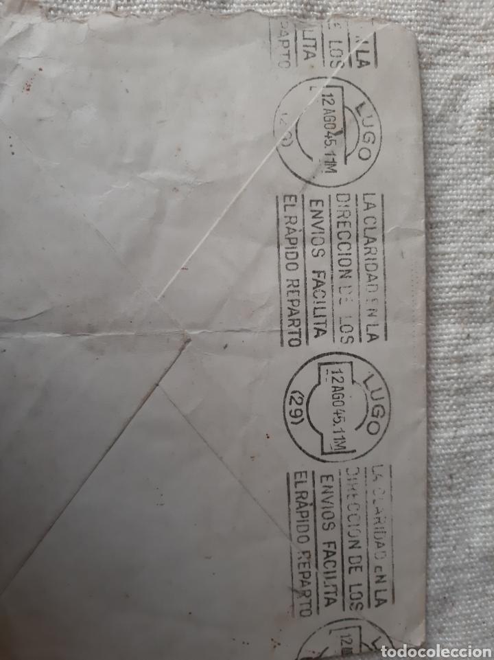 Sellos: SANTA LUCIA BARCELONA SEGUROS CARTA DIRIGIDA A LUGO REGIMIENTO ARTILLERÍA GANDARAS Rodillo 1945 - Foto 2 - 205827253