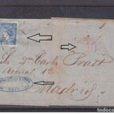 Sellos: IRUN - 1866 CARTA ENVUELTA CON RUEDA DE CARRETA 50 - MARCA COMERCIAL OVAL EN COLOR AZUL. Lote 206547785